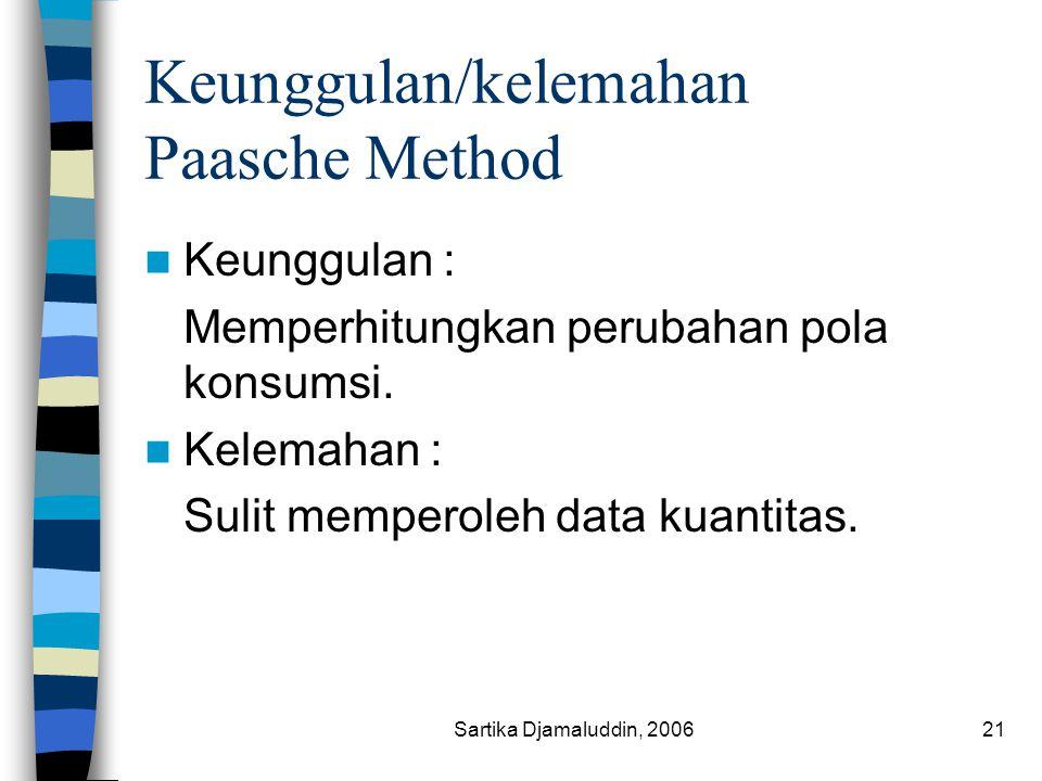 Sartika Djamaluddin, 200621 Keunggulan/kelemahan Paasche Method Keunggulan : Memperhitungkan perubahan pola konsumsi. Kelemahan : Sulit memperoleh dat