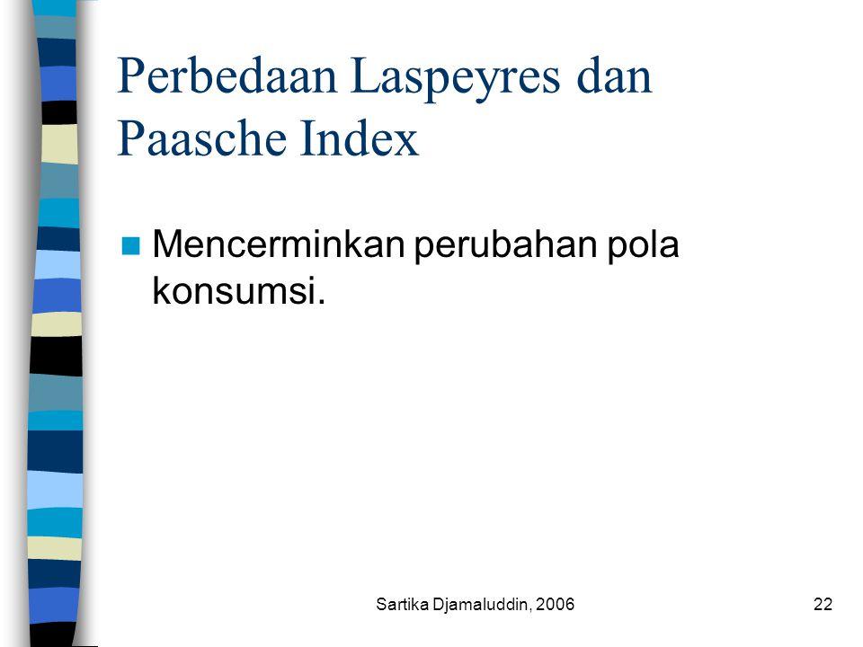 Sartika Djamaluddin, 200622 Perbedaan Laspeyres dan Paasche Index Mencerminkan perubahan pola konsumsi.