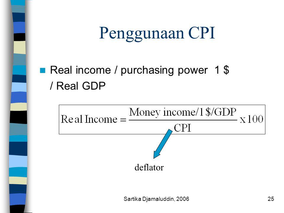 Sartika Djamaluddin, 200625 Penggunaan CPI Real income / purchasing power 1 $ / Real GDP deflator