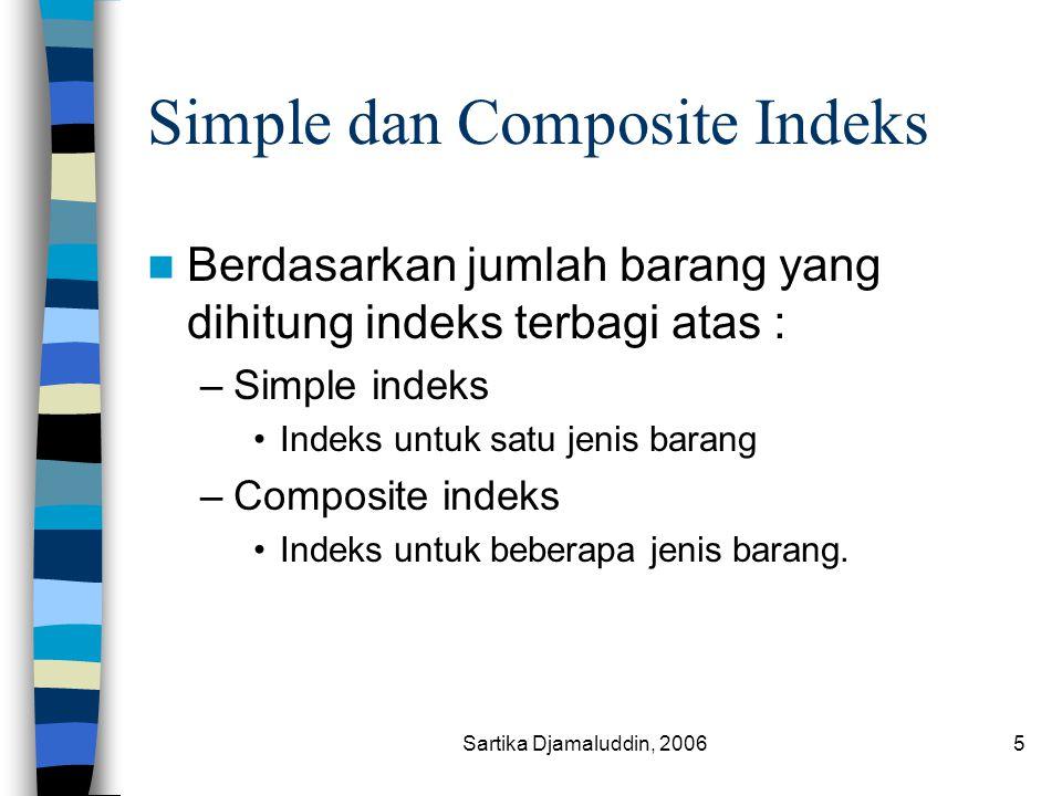 Sartika Djamaluddin, 20065 Simple dan Composite Indeks Berdasarkan jumlah barang yang dihitung indeks terbagi atas : –Simple indeks Indeks untuk satu