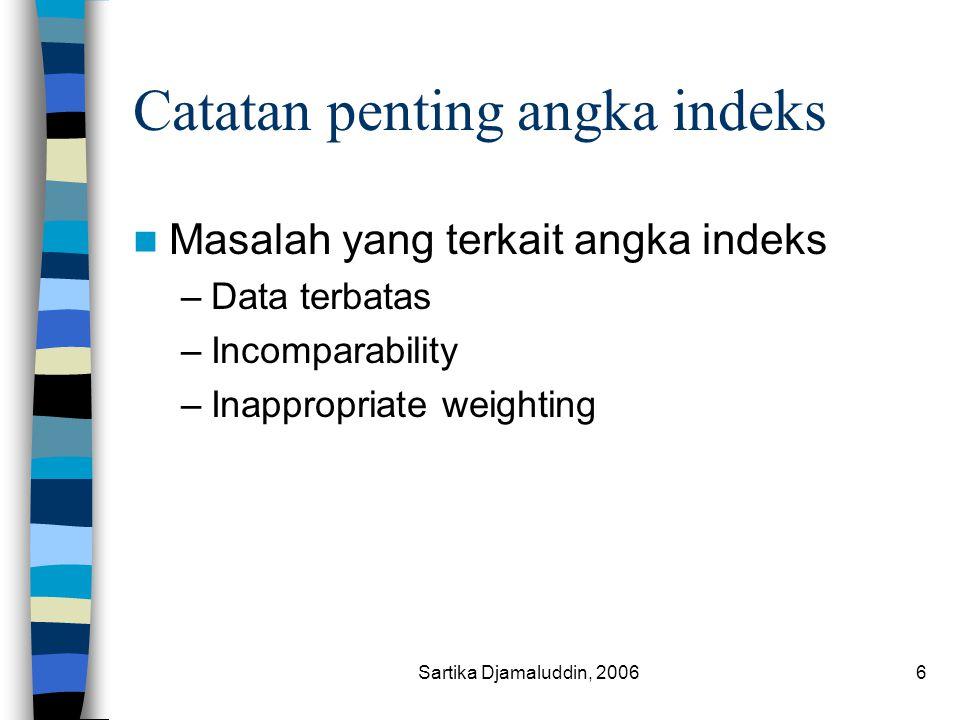 Sartika Djamaluddin, 20066 Catatan penting angka indeks Masalah yang terkait angka indeks –Data terbatas –Incomparability –Inappropriate weighting