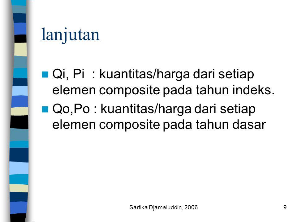 Sartika Djamaluddin, 20069 lanjutan Qi, Pi : kuantitas/harga dari setiap elemen composite pada tahun indeks. Qo,Po : kuantitas/harga dari setiap eleme