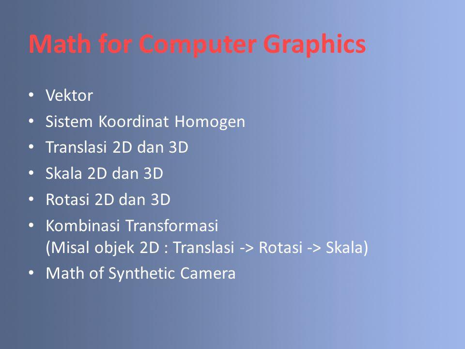 Math for Computer Graphics Vektor Sistem Koordinat Homogen Translasi 2D dan 3D Skala 2D dan 3D Rotasi 2D dan 3D Kombinasi Transformasi (Misal objek 2D : Translasi -> Rotasi -> Skala) Math of Synthetic Camera
