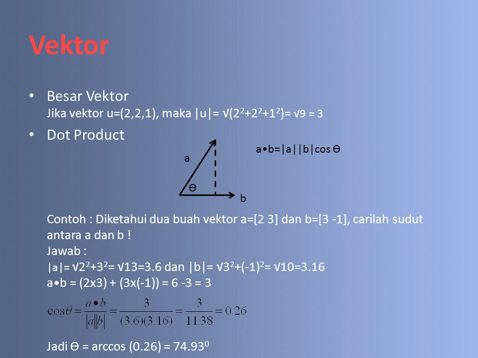 Vektor Besar Vektor Jika vektor u=(2,2,1), maka |u|= √(2 2 +2 2 +1 2 )= √9 = 3 Dot Product Contoh : Diketahui dua buah vektor a=[2 3] dan b=[3 -1], carilah sudut antara a dan b .
