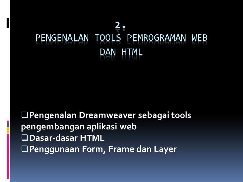  Pengenalan Dreamweaver sebagai tools pengembangan aplikasi web  Dasar-dasar HTML  Penggunaan Form, Frame dan Layer