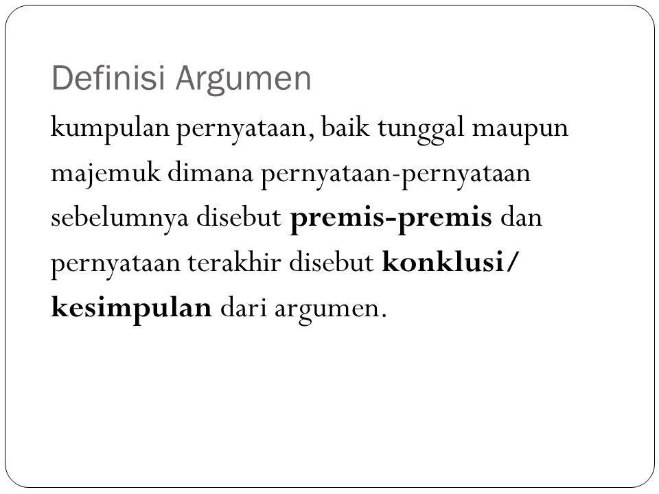 Definisi Argumen kumpulan pernyataan, baik tunggal maupun majemuk dimana pernyataan-pernyataan sebelumnya disebut premis-premis dan pernyataan terakhi