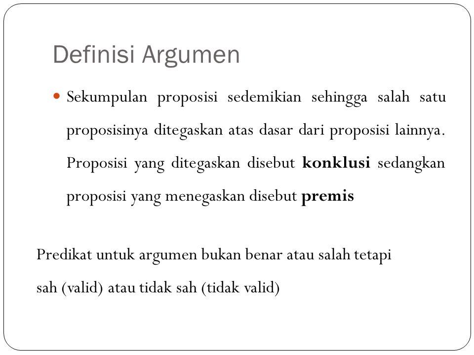 Definisi Argumen Sekumpulan proposisi sedemikian sehingga salah satu proposisinya ditegaskan atas dasar dari proposisi lainnya. Proposisi yang ditegas