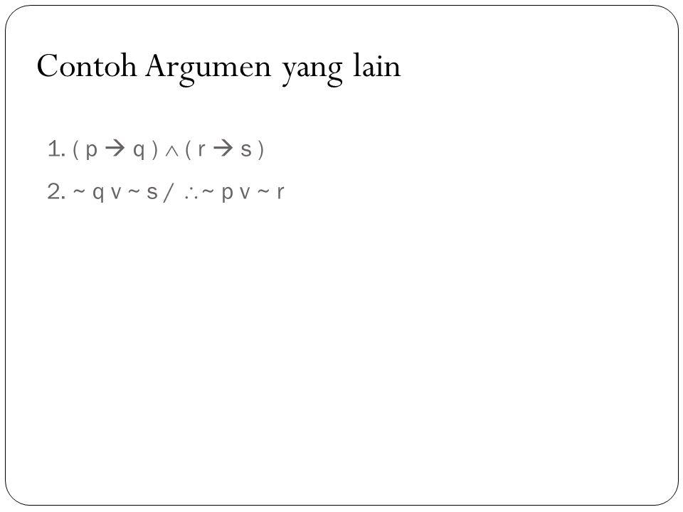 1. ( p  q )  ( r  s ) 2. ~ q v ~ s /  ~ p v ~ r Contoh Argumen yang lain