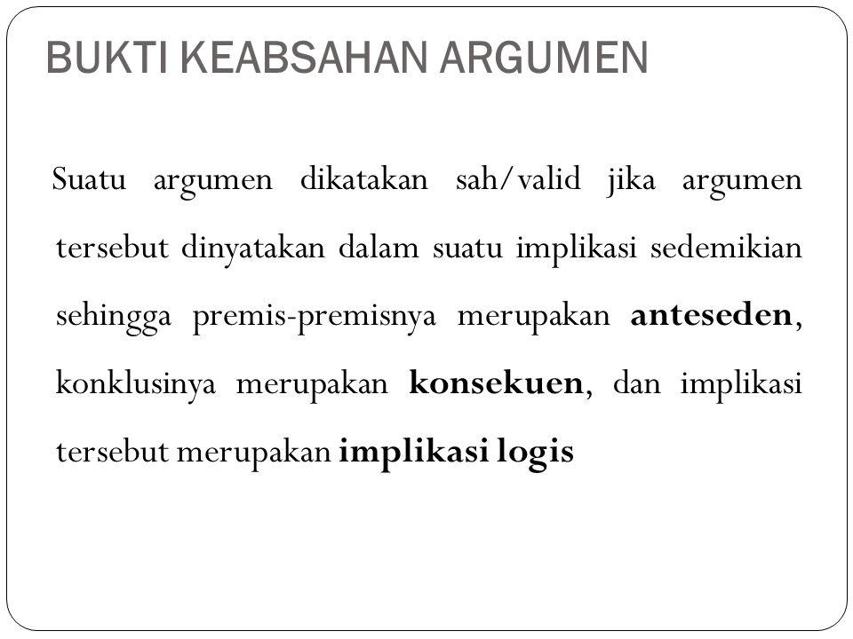Suatu argumen dikatakan sah/valid jika argumen tersebut dinyatakan dalam suatu implikasi sedemikian sehingga premis-premisnya merupakan anteseden, kon