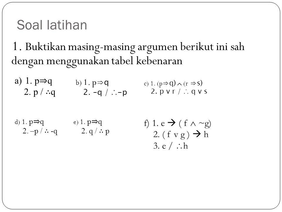 Soal latihan 1. Buktikan masing-masing argumen berikut ini sah dengan menggunakan tabel kebenaran a)1. p ⇒ q 2. p / ∴ q b) 1. p ⇒q 2. –q / ∴-p c) 1. (