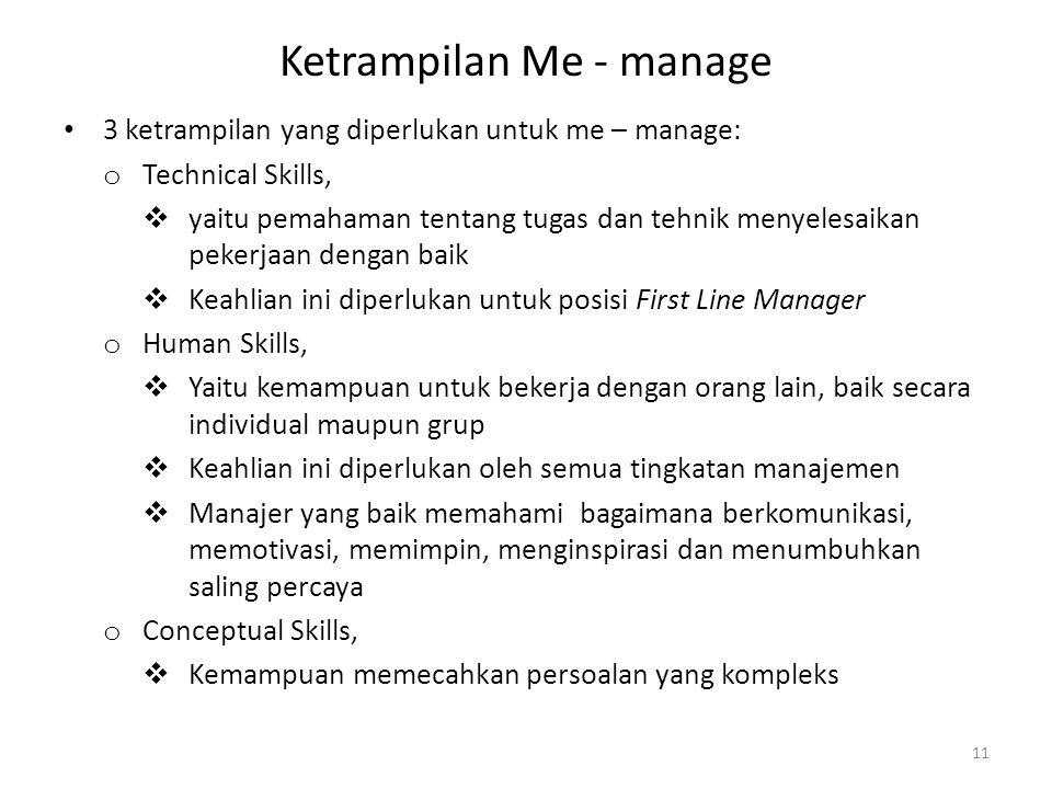 Ketrampilan Me - manage 3 ketrampilan yang diperlukan untuk me – manage: o Technical Skills,  yaitu pemahaman tentang tugas dan tehnik menyelesaikan