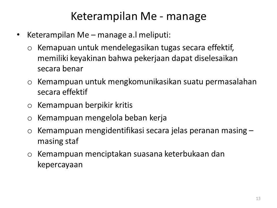 Keterampilan Me - manage Keterampilan Me – manage a.l meliputi: o Kemapuan untuk mendelegasikan tugas secara effektif, memiliki keyakinan bahwa pekerj