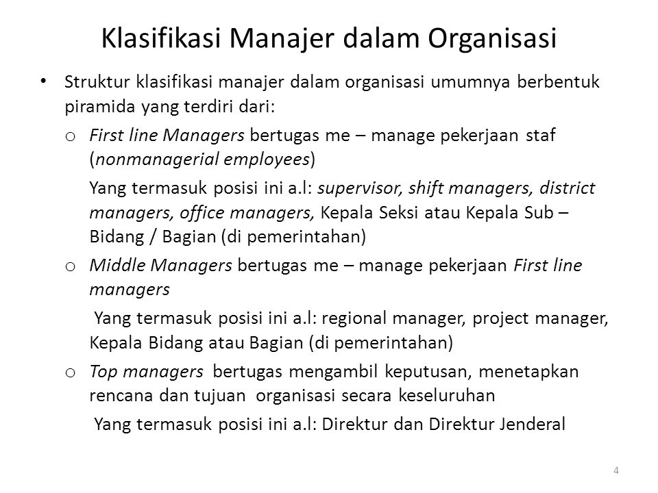 Klasifikasi Manajer dalam Organisasi Klasifikasi Manajer dalam Organisasi pada umumnya berbentuk piramida 5 Nonmanagerial Employees / Staf First Line Managers Middle Managers Top Managers