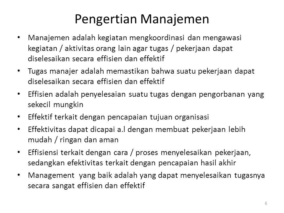 Pengertian Manajemen Manajemen adalah kegiatan mengkoordinasi dan mengawasi kegiatan / aktivitas orang lain agar tugas / pekerjaan dapat diselesaikan