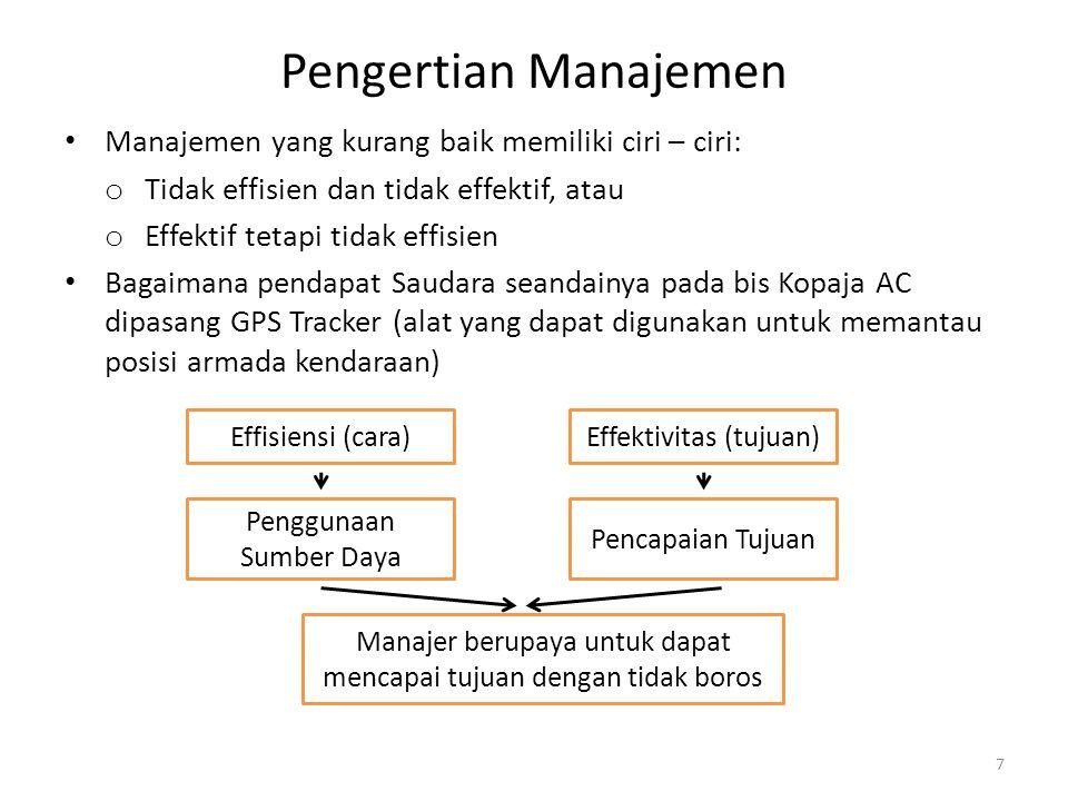 Pengertian Manajemen Manajemen yang kurang baik memiliki ciri – ciri: o Tidak effisien dan tidak effektif, atau o Effektif tetapi tidak effisien Bagai