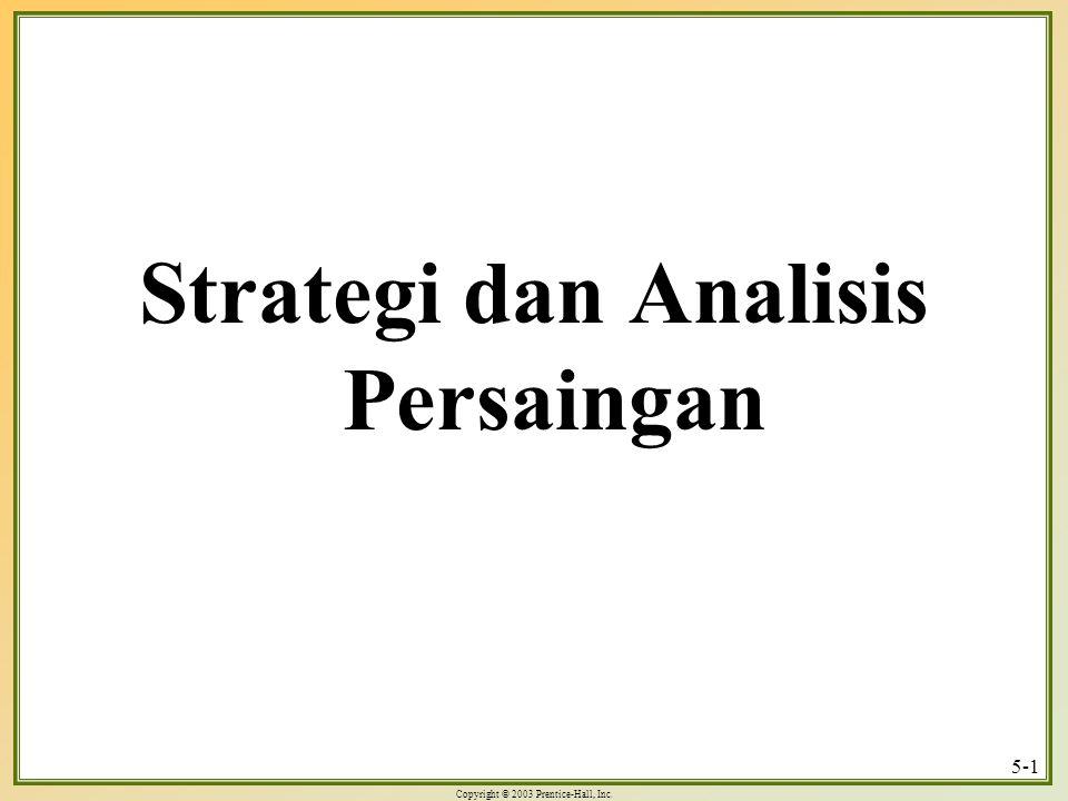 Copyright © 2003 Prentice-Hall, Inc.5-22 Strategi bersaing generik 1.Kepemimpinan biaya 4.