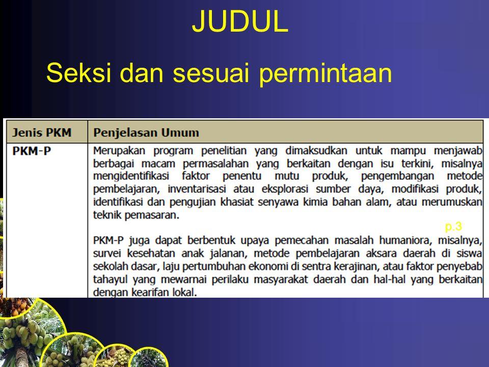 JUDUL p.3 Seksi dan sesuai permintaan