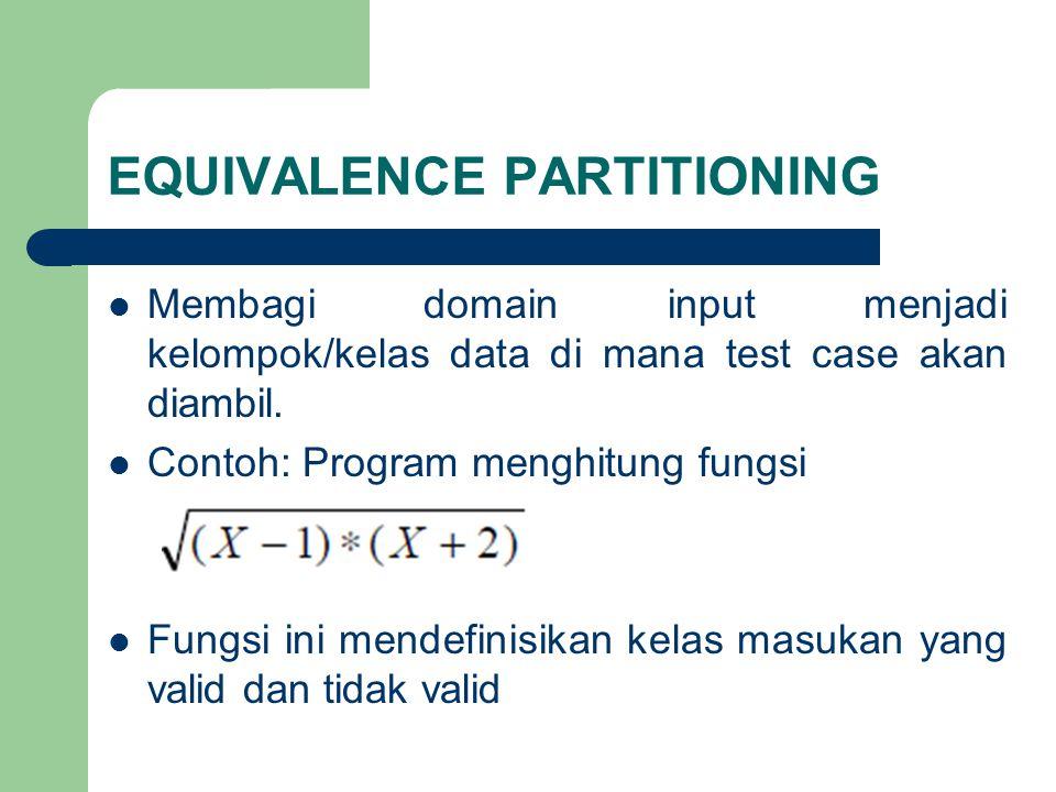 EQUIVALENCE PARTITIONING Membagi domain input menjadi kelompok/kelas data di mana test case akan diambil. Contoh: Program menghitung fungsi Fungsi ini