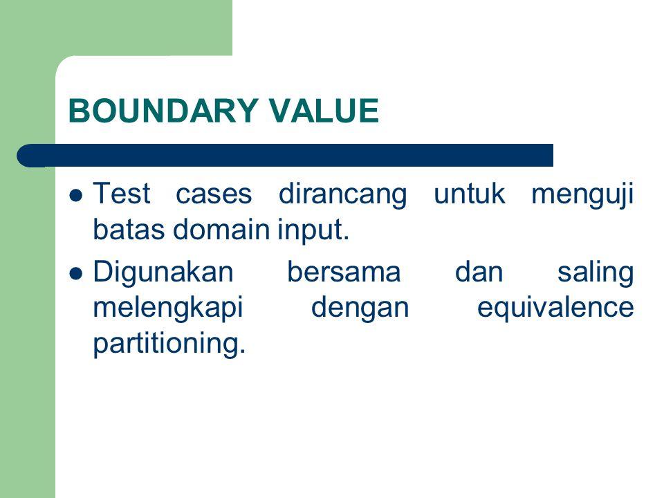 BOUNDARY VALUE Test cases dirancang untuk menguji batas domain input. Digunakan bersama dan saling melengkapi dengan equivalence partitioning.