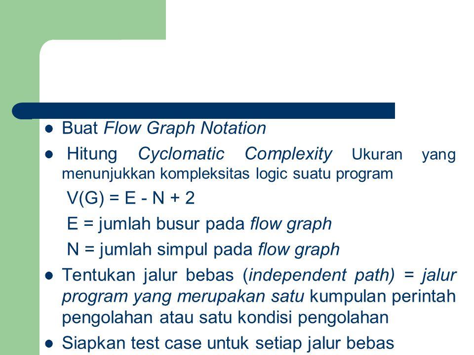 Buat Flow Graph Notation Hitung Cyclomatic Complexity Ukuran yang menunjukkan kompleksitas logic suatu program V(G) = E - N + 2 E = jumlah busur pada flow graph N = jumlah simpul pada flow graph Tentukan jalur bebas (independent path) = jalur program yang merupakan satu kumpulan perintah pengolahan atau satu kondisi pengolahan Siapkan test case untuk setiap jalur bebas