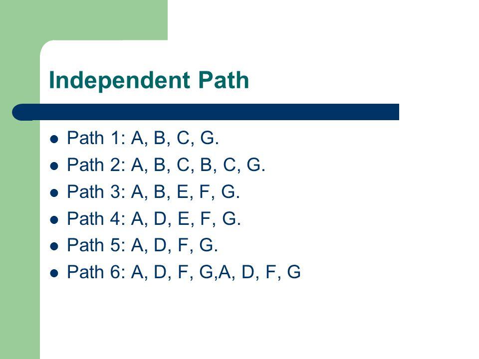 Independent Path Path 1: A, B, C, G. Path 2: A, B, C, B, C, G. Path 3: A, B, E, F, G. Path 4: A, D, E, F, G. Path 5: A, D, F, G. Path 6: A, D, F, G,A,