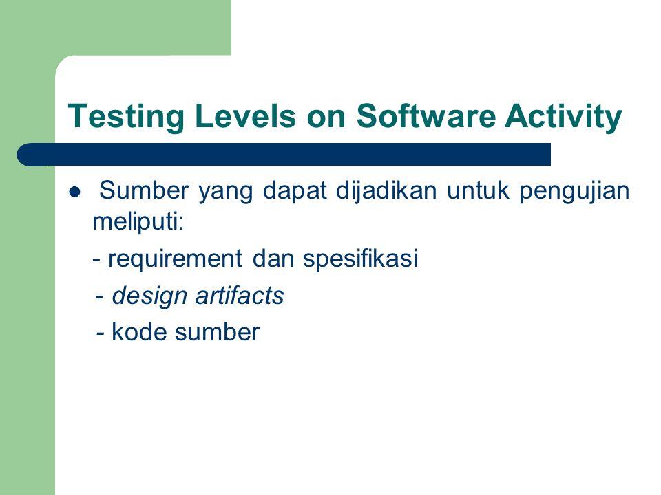 Testing Levels on Software Activity Sumber yang dapat dijadikan untuk pengujian meliputi: - requirement dan spesifikasi - design artifacts - kode sumber