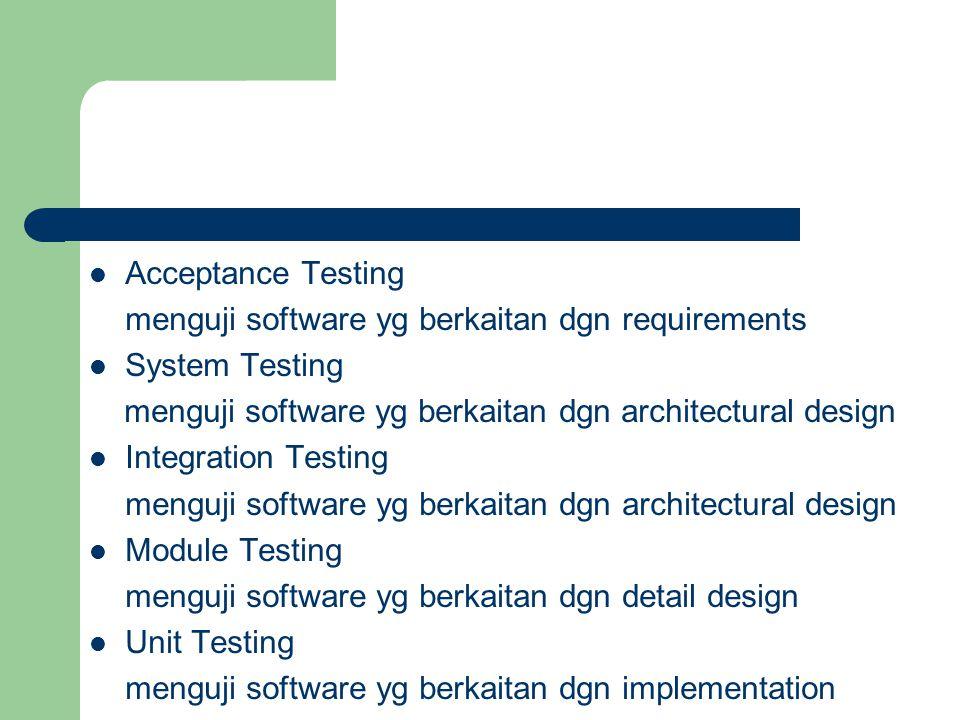 Acceptance Testing menguji software yg berkaitan dgn requirements System Testing menguji software yg berkaitan dgn architectural design Integration Te