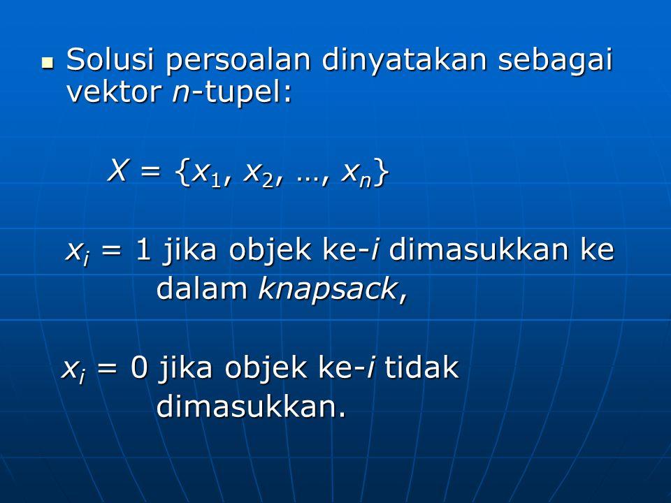 Solusi persoalan dinyatakan sebagai vektor n-tupel: Solusi persoalan dinyatakan sebagai vektor n-tupel: X = {x 1, x 2, …, x n } X = {x 1, x 2, …, x n