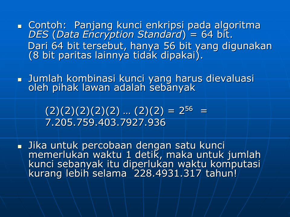 Contoh: Panjang kunci enkripsi pada algoritma DES (Data Encryption Standard) = 64 bit. Contoh: Panjang kunci enkripsi pada algoritma DES (Data Encrypt
