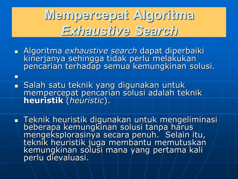 Mempercepat Algoritma Exhaustive Search Algoritma exhaustive search dapat diperbaiki kinerjanya sehingga tidak perlu melakukan pencarian terhadap semu