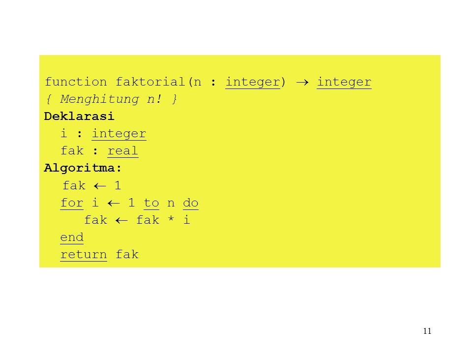 11 function faktorial(n : integer)  integer { Menghitung n! } Deklarasi i : integer fak : real Algoritma: fak  1 for i  1 to n do fak  fak * i end