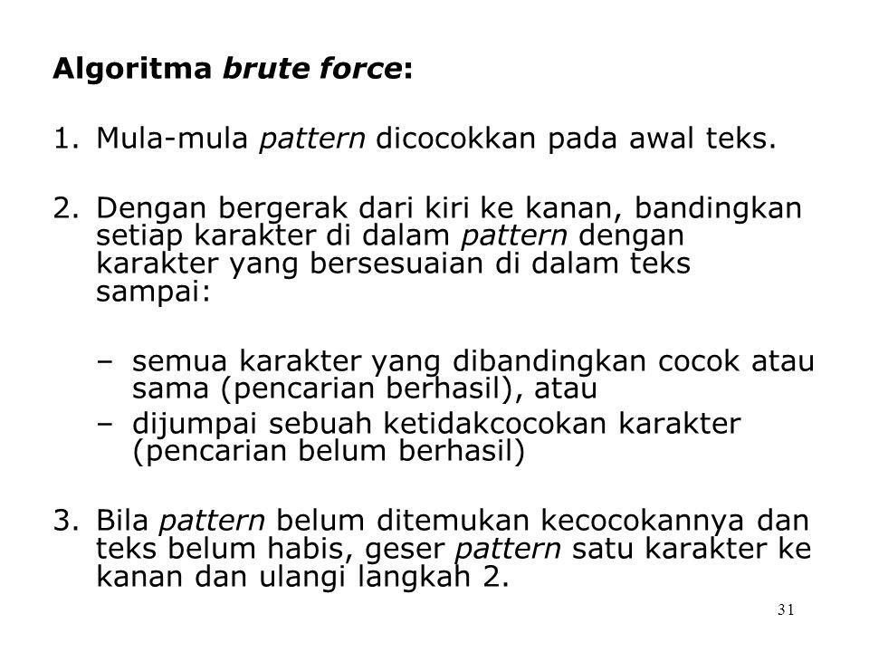 31 Algoritma brute force: 1.Mula-mula pattern dicocokkan pada awal teks. 2.Dengan bergerak dari kiri ke kanan, bandingkan setiap karakter di dalam pat