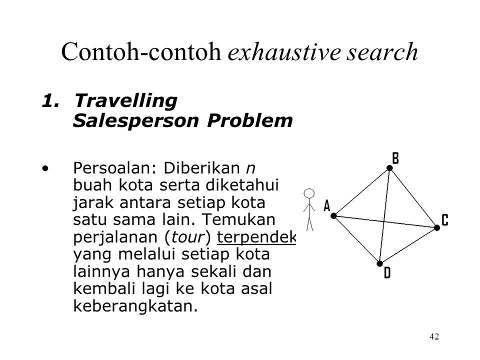 42 Contoh-contoh exhaustive search 1. Travelling Salesperson Problem Persoalan: Diberikan n buah kota serta diketahui jarak antara setiap kota satu sa