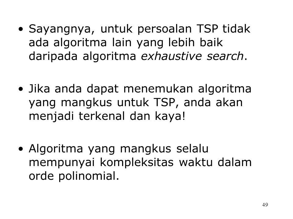 49 Sayangnya, untuk persoalan TSP tidak ada algoritma lain yang lebih baik daripada algoritma exhaustive search. Jika anda dapat menemukan algoritma y