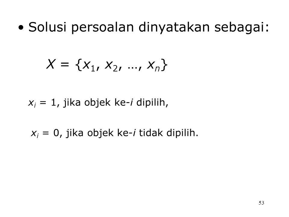 53 Solusi persoalan dinyatakan sebagai: X = {x 1, x 2, …, x n } x i = 1, jika objek ke-i dipilih, x i = 0, jika objek ke-i tidak dipilih.