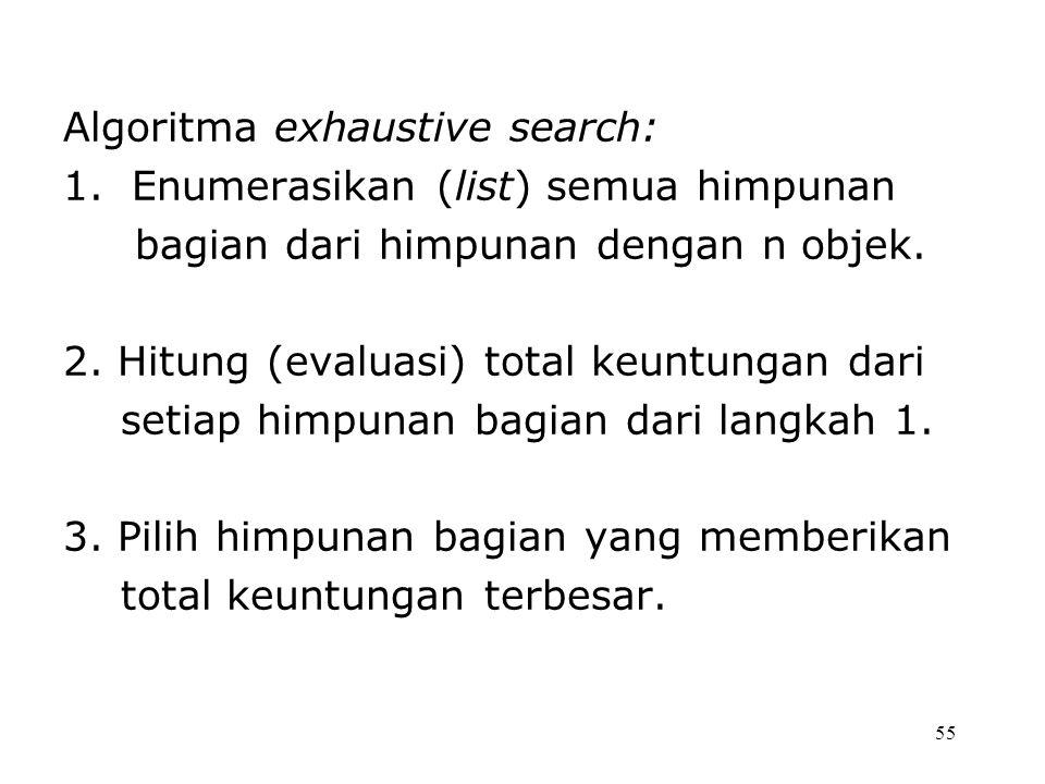 55 Algoritma exhaustive search: 1. Enumerasikan (list) semua himpunan bagian dari himpunan dengan n objek. 2. Hitung (evaluasi) total keuntungan dari