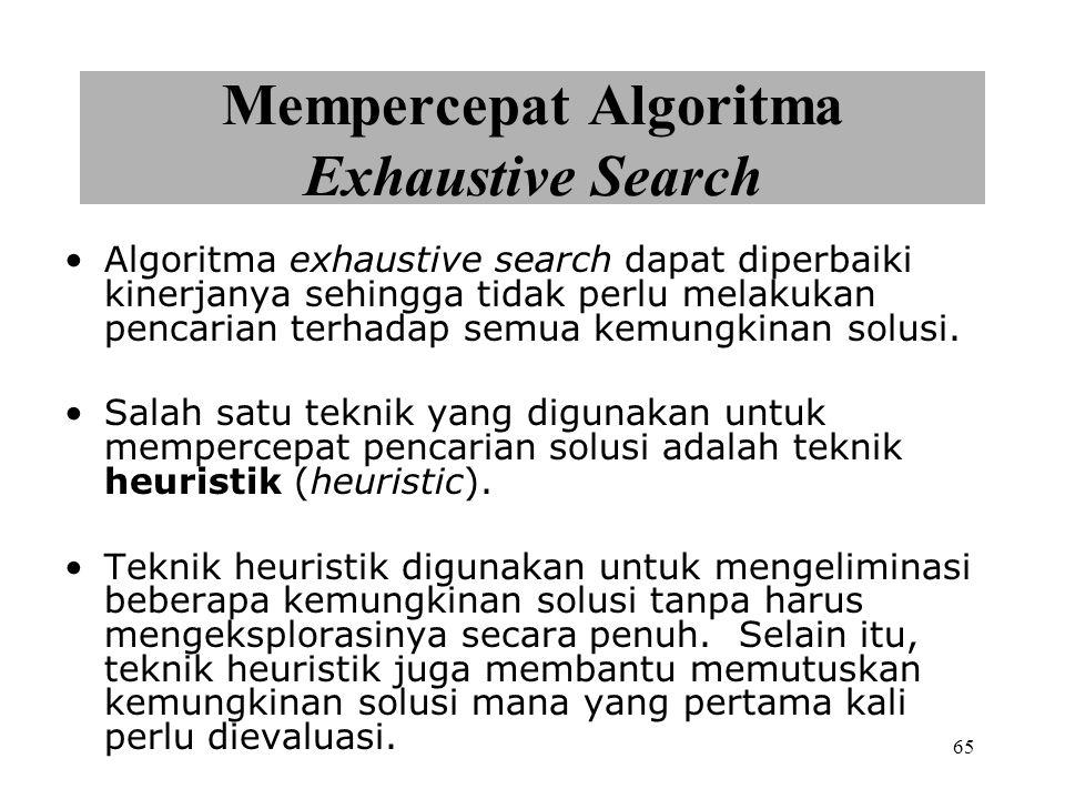 65 Mempercepat Algoritma Exhaustive Search Algoritma exhaustive search dapat diperbaiki kinerjanya sehingga tidak perlu melakukan pencarian terhadap semua kemungkinan solusi.