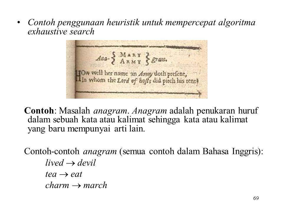 69 Contoh penggunaan heuristik untuk mempercepat algoritma exhaustive search Contoh: Masalah anagram.