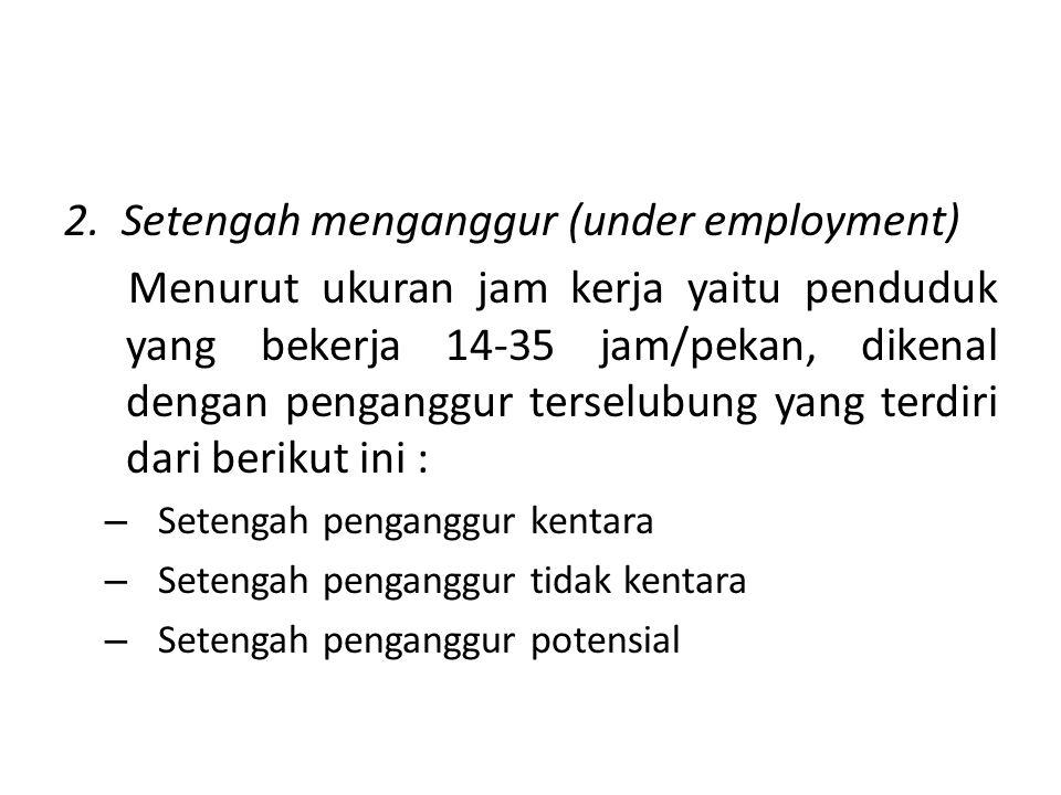 2. Setengah menganggur (under employment) Menurut ukuran jam kerja yaitu penduduk yang bekerja 14-35 jam/pekan, dikenal dengan penganggur terselubung