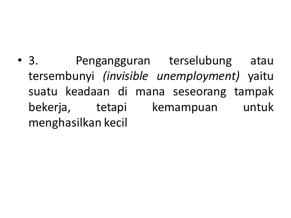 3. Pengangguran terselubung atau tersembunyi (invisible unemployment) yaitu suatu keadaan di mana seseorang tampak bekerja, tetapi kemampuan untuk men