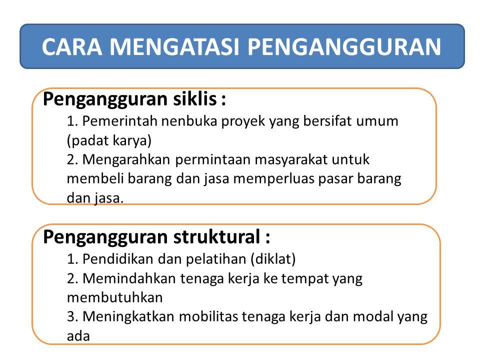 CARA MENGATASI PENGANGGURAN Pengangguran siklis : 1. Pemerintah nenbuka proyek yang bersifat umum (padat karya) 2. Mengarahkan permintaan masyarakat u