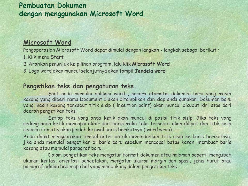 Pembuatan Dokumen dengan menggunakan Microsoft Word Microsoft Word Pengoperasian Microsoft Word dapat dimulai dengan langkah - langkah sebagai berikut : 1.