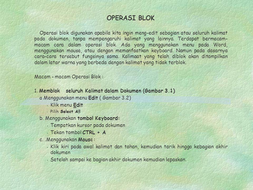 OPERASI BLOK Operasi blok digunakan apabila kita ingin meng-edit sebagian atau seluruh kalimat pada dokumen, tanpa mempengaruhi kalimat yang lainnya.