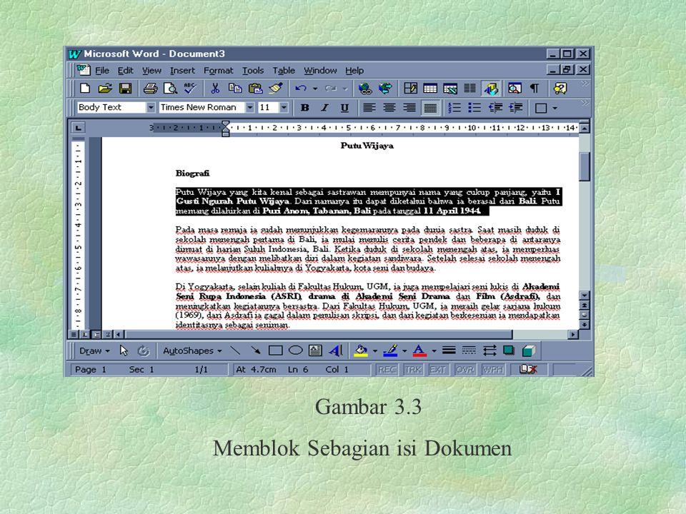 Gambar 3.3 Memblok Sebagian isi Dokumen