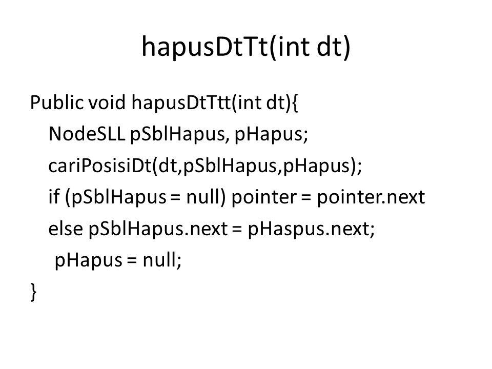 hapusDtTt(int dt) Public void hapusDtTtt(int dt){ NodeSLL pSblHapus, pHapus; cariPosisiDt(dt,pSblHapus,pHapus); if (pSblHapus = null) pointer = pointe