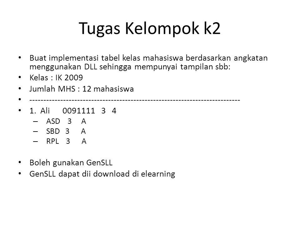 Tugas Kelompok k2 Buat implementasi tabel kelas mahasiswa berdasarkan angkatan menggunakan DLL sehingga mempunyai tampilan sbb: Kelas : IK 2009 Jumlah