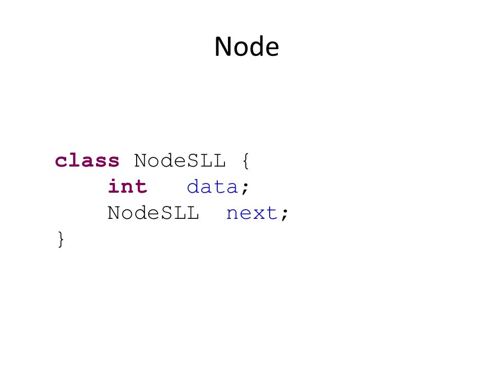 Node class NodeSLL { int data; NodeSLL next; }