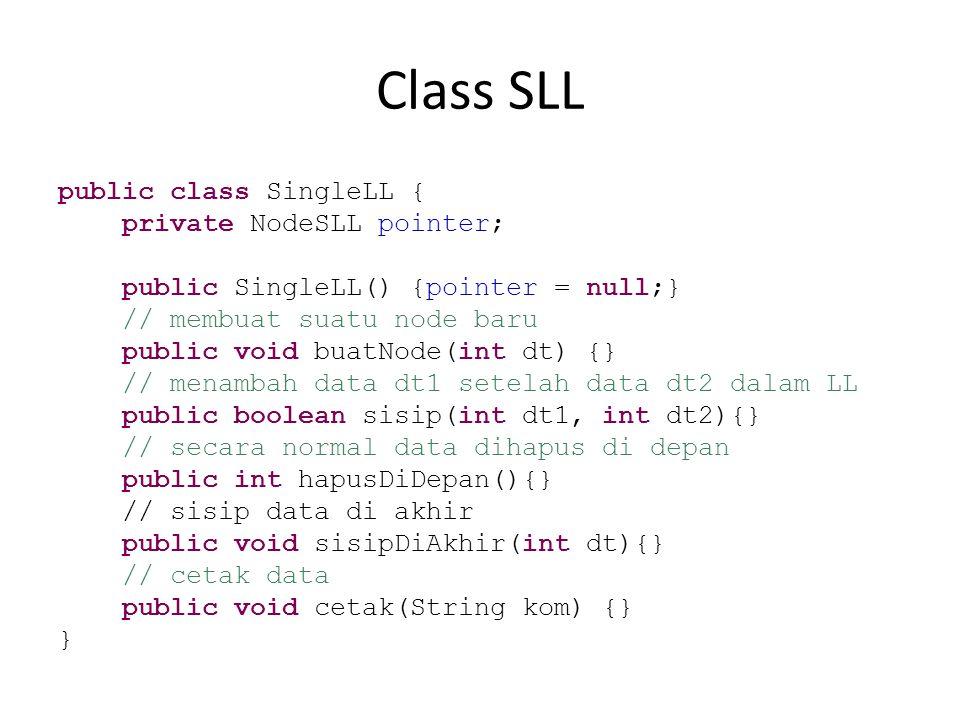 buatNode(int dt) // membuat suatu node baru public void buatNode(int dt) { NodeSLL nodeBaru = new NodeSLL(); nodeBaru.data = dt; nodeBaru.next = pointer; pointer = nodeBaru; }