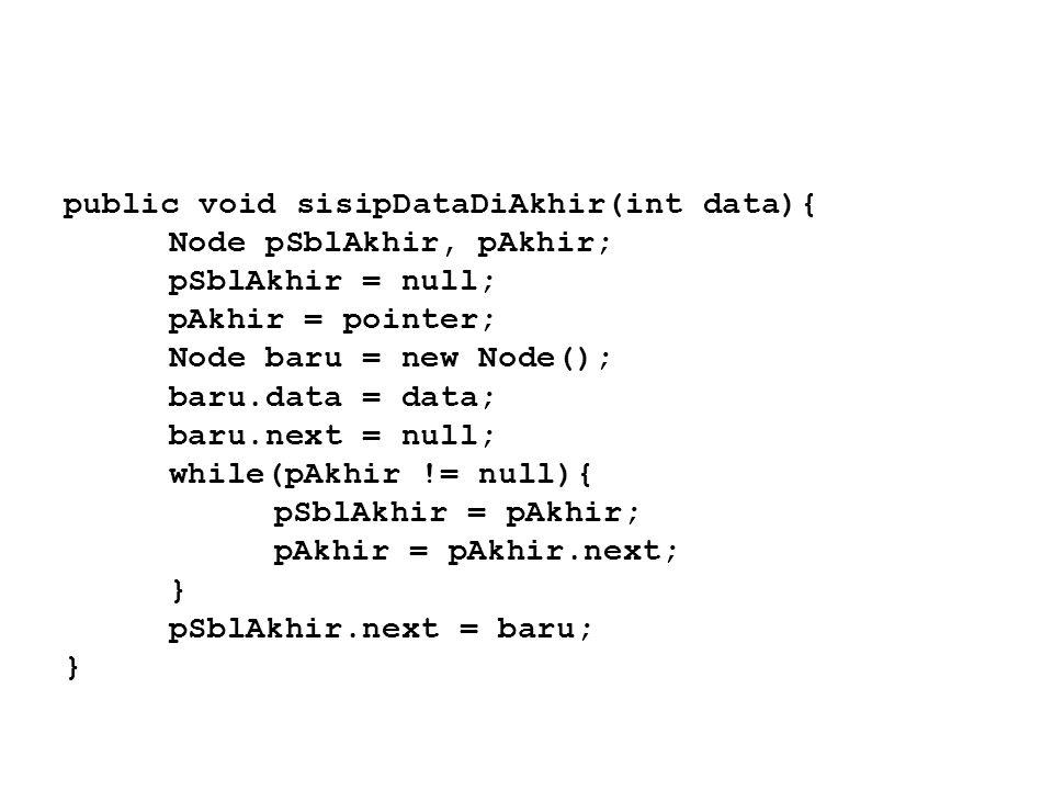 public void sisipDataDiAkhir(int data){ Node pSblAkhir, pAkhir; pSblAkhir = null; pAkhir = pointer; Node baru = new Node(); baru.data = data; baru.nex