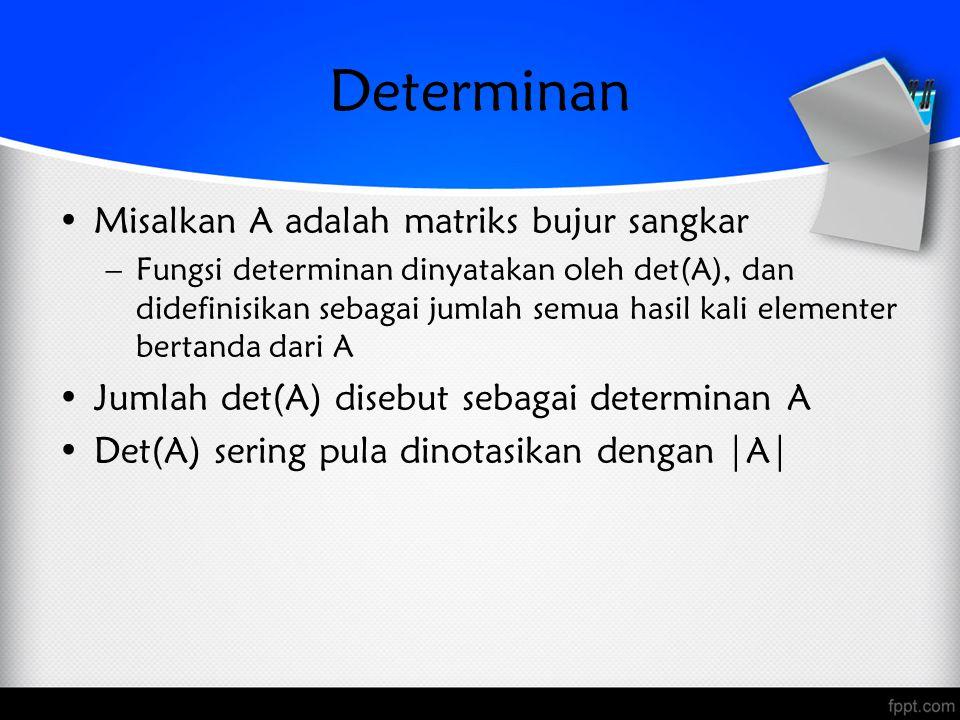 Determinan Misalkan A adalah matriks bujur sangkar –Fungsi determinan dinyatakan oleh det(A), dan didefinisikan sebagai jumlah semua hasil kali elementer bertanda dari A Jumlah det(A) disebut sebagai determinan A Det(A) sering pula dinotasikan dengan |A|